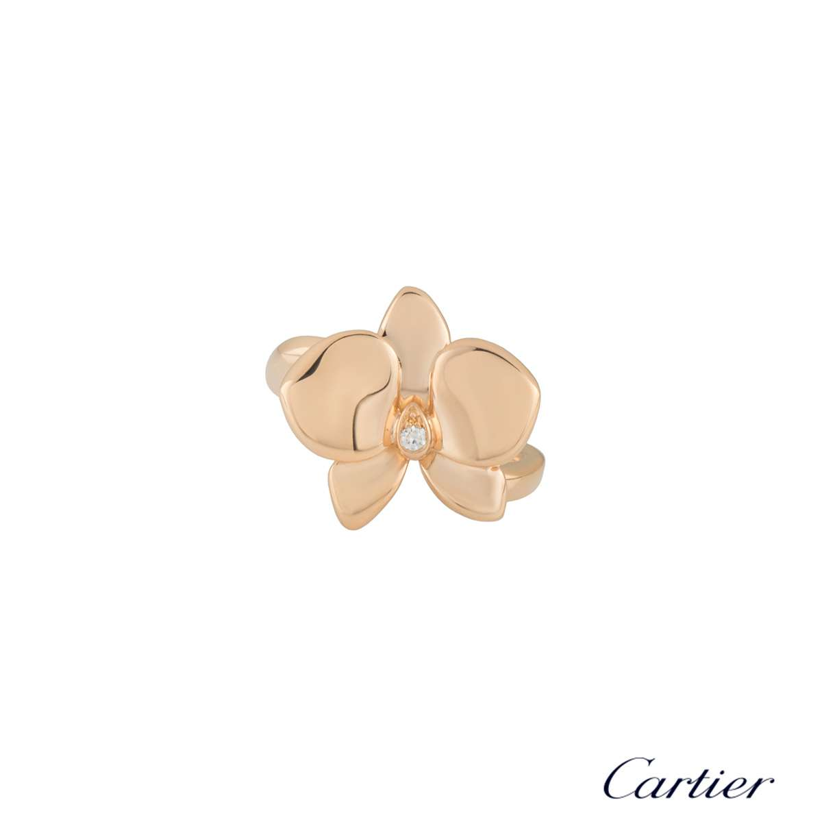 Cartier Rose Gold Diamond DOrchidees Ring B4074952